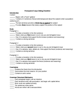 High School Vs College Essay  Topics For Argumentative Essays For High School also English Literature Essay Topics Persuasive Essay Writing Editing Review Checklist Selfpeer Review Thesis Statement For Education Essay