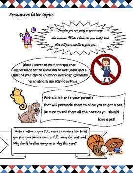 Persuasive letter journal topics