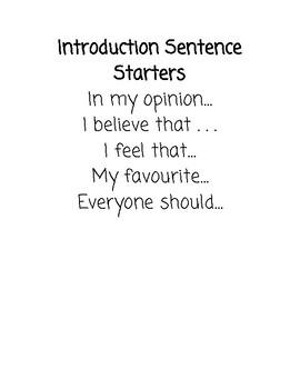 Persuasive/opinion Writing Sentence Starters