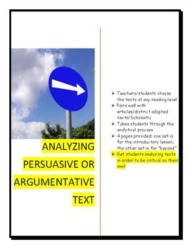 Persuasive or Argumentative Text Analyzing Pages [Response page]