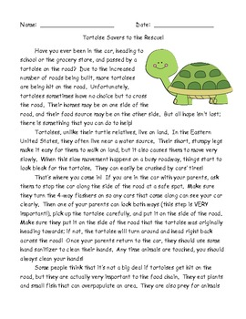 Persuasive passage and comprehension questions-Tortoise Savers to the Rescue!