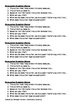 Persuasive reading notes and question stems