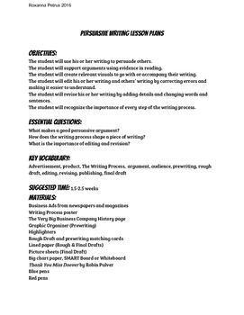 Persuasive writing Project