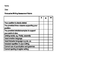 Persuasive writing assessment rubric
