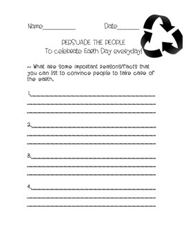 Persuasive writing for Earth Day