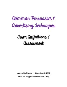 Persuasive/Advertising Techniques: Term Definition & Assessment