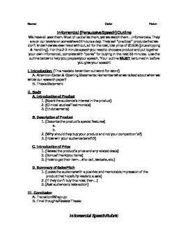Persuasive/Infomercial Speech Rubric