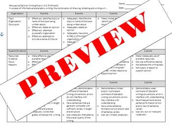 Persuasive/Opinion Elementary Rubric