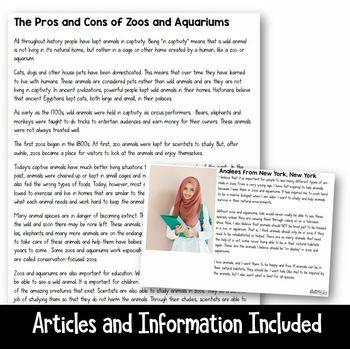 Persuasive/Opinion Writing Project: Animal Captivity (3rd-5th grades)