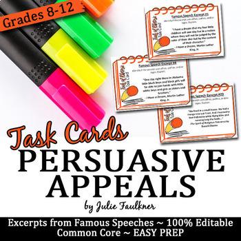 Persuasive Appeals Rhetorical Devices Speech Excerpts Cards Ethos