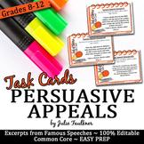 Persuasive Appeals Rhetorical Devices Speech Excerpts Cards (Ethos Pathos Logos)