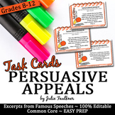 Persuasive Appeals in Famous Speeches Task Cards (Ethos Pa