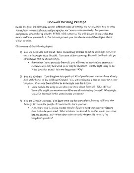 """Persuasive/argumentative packet """"Beowulf"""" Middle School Version"""
