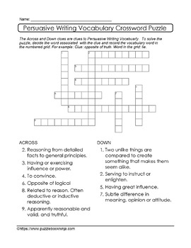 Persusaive Writing Puzzles - 51 UNIQUE Persuasive Writing Puzzle Collection