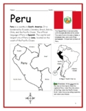 PERU - Printable handouts with map and flag to color