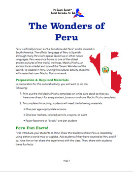 Peru Cultural Activity for Spanish Students!