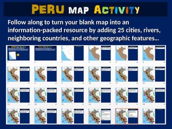 Peru Map Activity- fun, engaging, follow-along 24-slide PPT