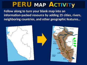 Peru Map Activity- fun, engaging, follow-along 24-slide PPT