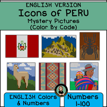 Peru Mystery Pictures, Icons of PERU, Color By Number, ENGLISH VERSION