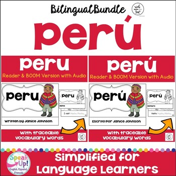 Peru Reader & vocab pages in English & Spanish {Bilingual bundle}