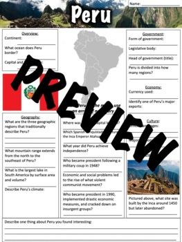 Peru Worksheet