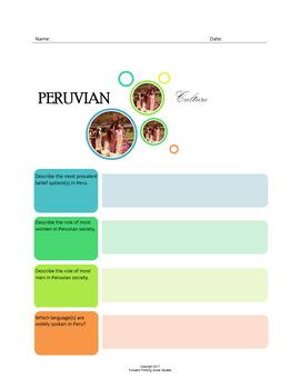 Peruvian Culture:  A Fillable Fact-Finding Sheet
