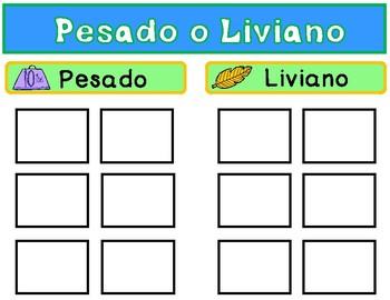 Pesado o Liviano Sorting Center: Sorting Mats or File Folder Game