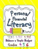 Pesonal Financial Literacy TEKS 5.10E 5.10F Balance a Simple Budget Task Cards