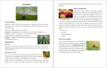 Pesticides - Science Reading Article - Grades 5-7