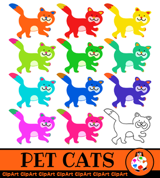 Pet Cat Clip Art - Rainbow Colours