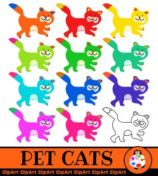Pet Cat Clip Art - Rainbow Colours