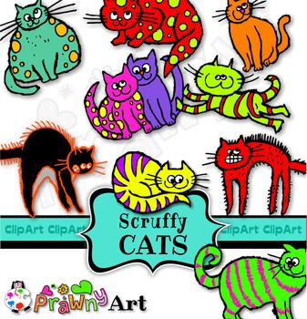 Pet Cats Cartoon Clip Art - Cute Fluffy Animal Set