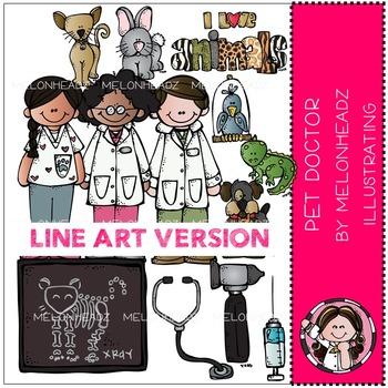 Pet Doctor clip art - veterinarian - Line Art - by Melonheadz