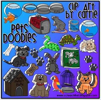 Pet Doodles (BW and full color PNG images)