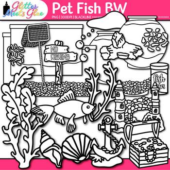 Pet Fish Clip Art | Aquarium Sea Life, Sea Shells, Castle for Under the Sea |B&W
