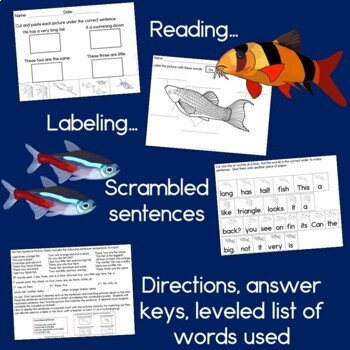 Pet Fish Sentence Picture Match Reading Center