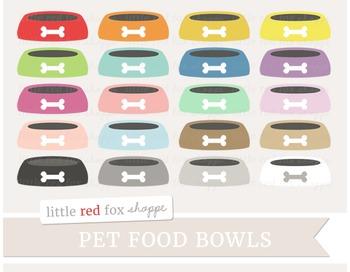 Pet Food Bowl Clipart; Dog, Cat, Animal