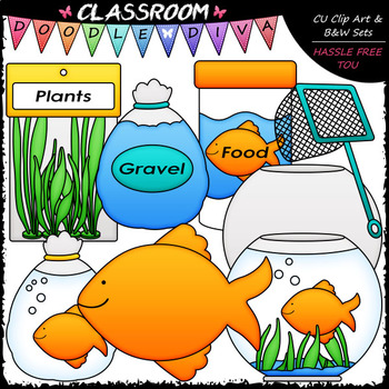 Pet Goldfish - Clip Art & B&W Set