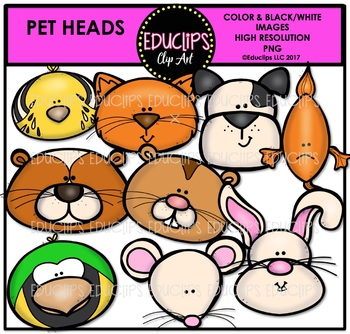 Pet Heads Clip Art Bundle {Educlips Clipart}
