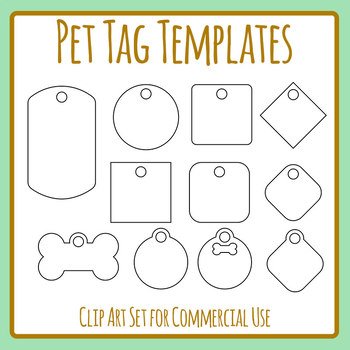 Pet ID Tag Blank Templates Clip Art Set for Commercial Use