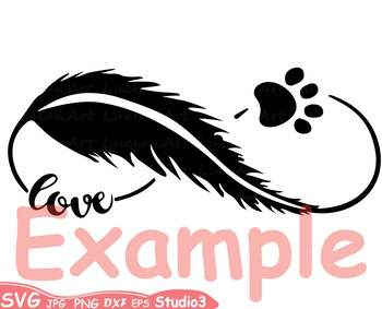 Pet Infinity Love Silhouette clipart SVG heart Valentines cat dog puppy 73sv