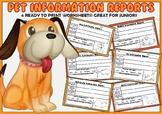 Pet Information Reports- Bundle