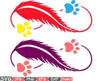 Pet Love Infinity Silhouette SVG clipart cat dog Puppy paw wings Feather 762S