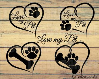Pet Love Paw Monogram I love my Pet Digital Cutting Files ClipArt 738C