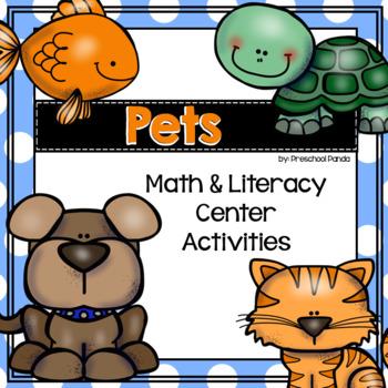 Pet Math & Literacy Centers for Preschool Pre-K Kinder Homeschool