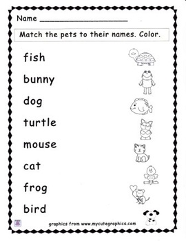 Pet Name Match Activity