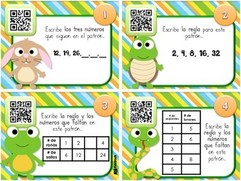 Pet Patterns QR Code Task Cards in SPANISH