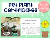 Pet Plant Certificates - ACTIVITY/FUNDRAISER