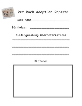 Pet Rock Adoption Papers