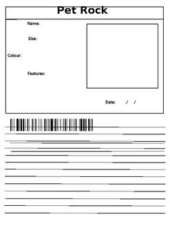 Pet Rock ID Card and Narrative